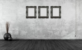 Black and white retro interior Stock Photo