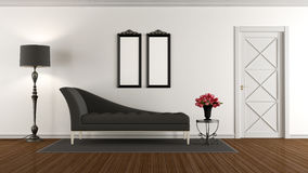 Black and white retro living room Royalty Free Stock Photos