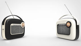 Black and white retro looking radios Stock Photos