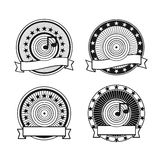 Black and white retro musical record stamp Royalty Free Stock Photos