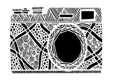 Black and white retro photo camera in zentangle style. Black and white retro photo camera in zentangle style illustration, hand drawing