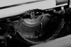 Black and white retro typewriter letter Stock Photo