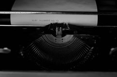 Black and white retro typewriter letter Stock Images