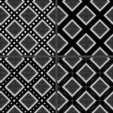 Black and white rhombuses patterns Stock Images
