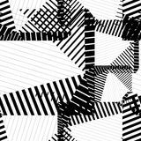 Black and white rhythmic textured endless pattern, continuous gr Stock Image