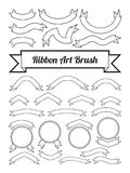 Black and white ribbon art brush, text box template, blank logo design, curve line shape decoration element around circle border. Royalty Free Stock Images