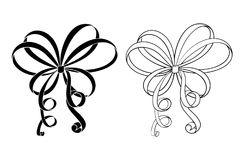 Black and white ribbon bows. Flat icons. Vector illustration isolated on white background Royalty Free Stock Photos