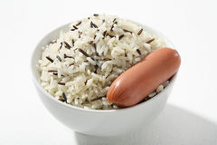 Black & white rice with frankfurter Royalty Free Stock Images