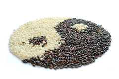 Black and white rice. Suggesting yin yang concept Stock Image