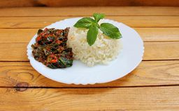 Black and white rice with vegetables. Black and white rice cooked with vegetables Stock Photo