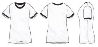 Black White Ringer T-Shirt Design Template Stock Photography