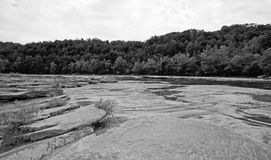 Black and white river shore. A rocky river shore with woods in the background in black and white stock photography