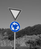 Black and white road sign Stock Photography