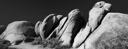 Black and white rock formations at Joshua Tree National Park Stock Photo
