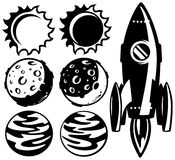 Black and white rocket and planets. Set of objects Royalty Free Stock Photo