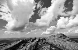 Black and white rocky alpine peak at Grandfather Mountain in the Appalachians Royalty Free Stock Photo