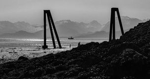 Black and white rocky beach Royalty Free Stock Photo