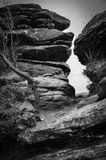 Black and White Rocky Outcrop Stock Image