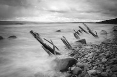 Black & White rocky Stock Image