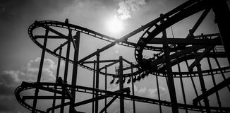 Black and white rollercoaster track Stock Photo