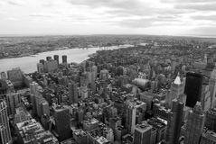 Black and white rooftop view from tall building in New York City royalty free stock photo