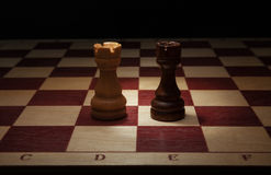 Black and White Rook on chess board. Stock Images