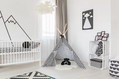 Black and white room decoration. Spacious black and white baby room decoration Royalty Free Stock Photo