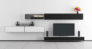 Black and white room with tv unit Stock Photo