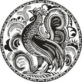 Black and white rooster in a circle with pattern Royalty Free Stock Images