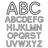 Black white rope font alphabet Stock Images