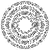 Black and white rope frames. Set of black and white round vector frames with ropes Royalty Free Stock Images