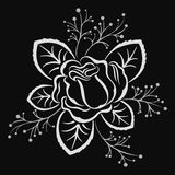 Black and white rose flower design element Stock Photo