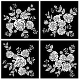 Black White Rose flowers. Black and White Retro Flowers card template Royalty Free Stock Image