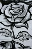 Black and white rose street graffiti detail Stock Image