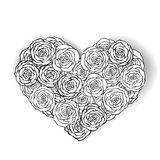 Black and white roses bouquet,monochrome heart Royalty Free Stock Photos
