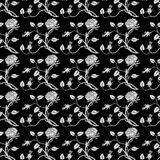 Black and white roses repeat seamless pattern Stock Photos
