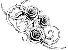 Black and white roses tatto Stock Image