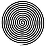 Black white round abstract vortex hypnotic spiral. stock illustration