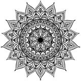 Black and white round circle lace pattern mandala. Vector illustration. Stock Photos