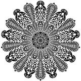 Black and white round circle lace pattern mandala. Vector illustration. Royalty Free Stock Images