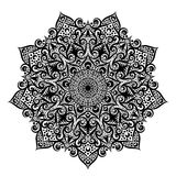 Black and white round circle lace pattern mandala. Vector illustration. Royalty Free Stock Photography