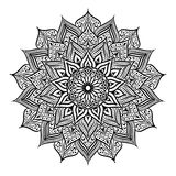 Black and white round circle lace pattern mandala. Vector illustration. Royalty Free Stock Photos