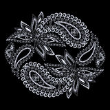 Black and white round ethnic design with paisley.  Vector print. Royalty Free Stock Image