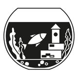 Black and white round fish aquarium silhouette. Decorative element for home office. Pet themed vector illustration for icon, sticker, label, badge, poster Royalty Free Stock Photos