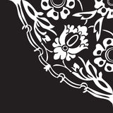 Black and white round floral border corner abstract background v Stock Image