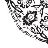 Black and white round floral border corner abstract background v Royalty Free Stock Image