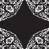 Black and white round floral border corner abstract background v Stock Photos