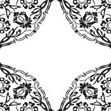 Black and white round floral border corner background v Royalty Free Stock Images