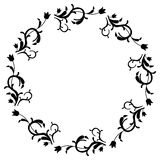 Black and white round frame with flowers. Copy space. Design element for graphics artworks Stock Image