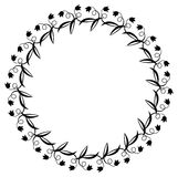 Black and white round frame with flowers. Copy space. Design element for graphics artworks Stock Photo